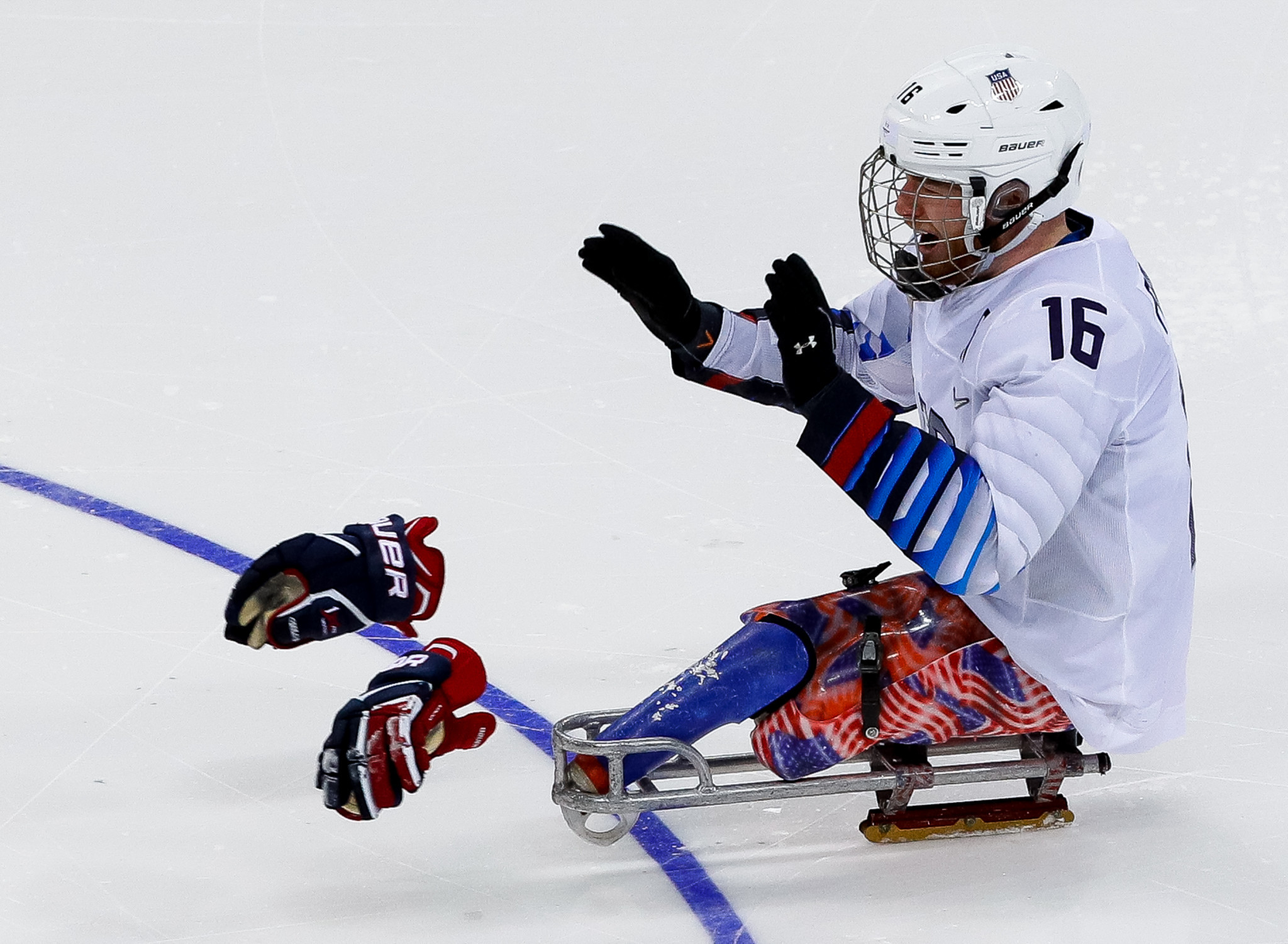 Declan Farmer of the United States celebrates scoring the goal which gave the US the gold medal in the ice hockey final at the 2018 Winter Paralympics ©Getty Images