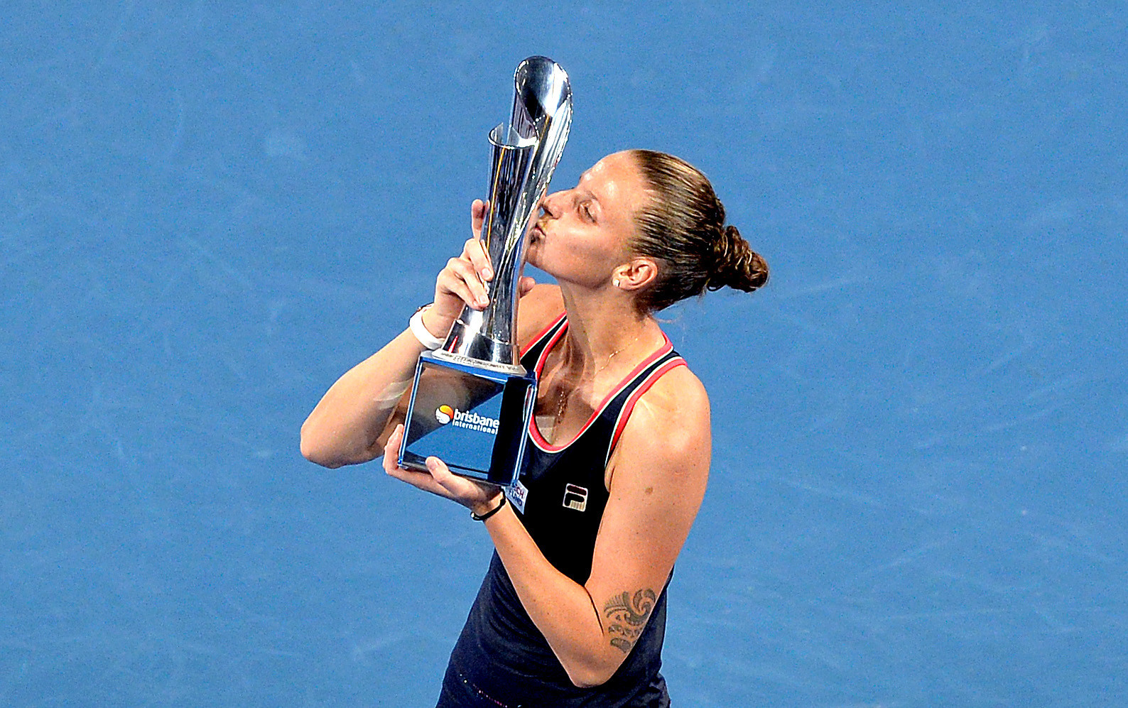 Karolina Pliskova came from behind to win the Brisbane International in three sets ©Getty Images