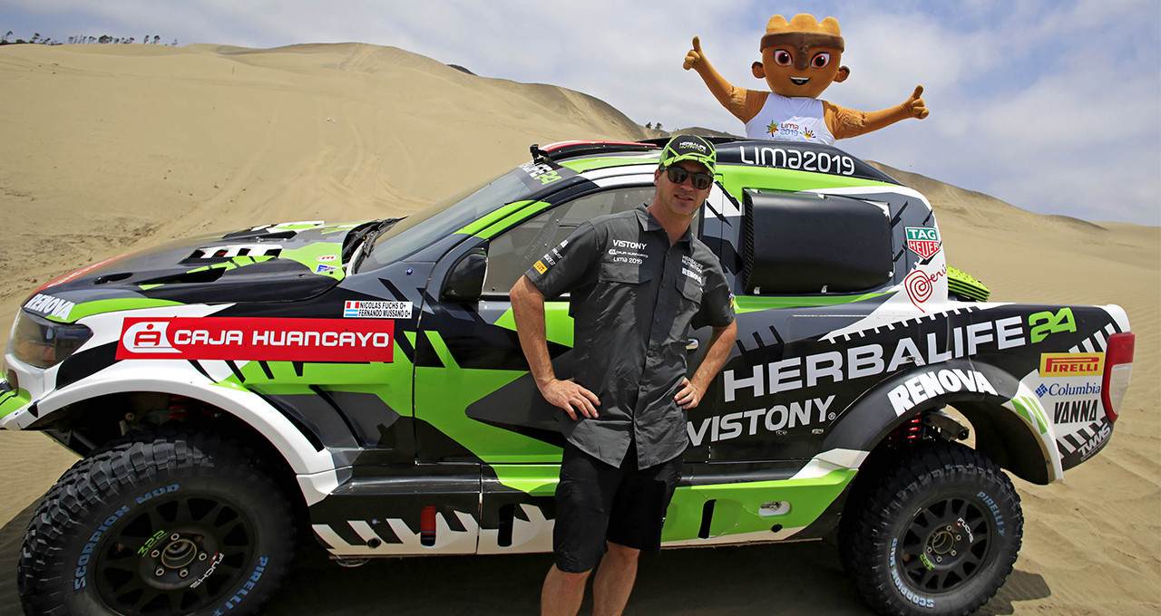 The Lima 2019 Pan American Games mascot has been to visit Nicolas Fuchs Sierlecki, who is racing in the 2019 Dakar Rally ©Lima 2019