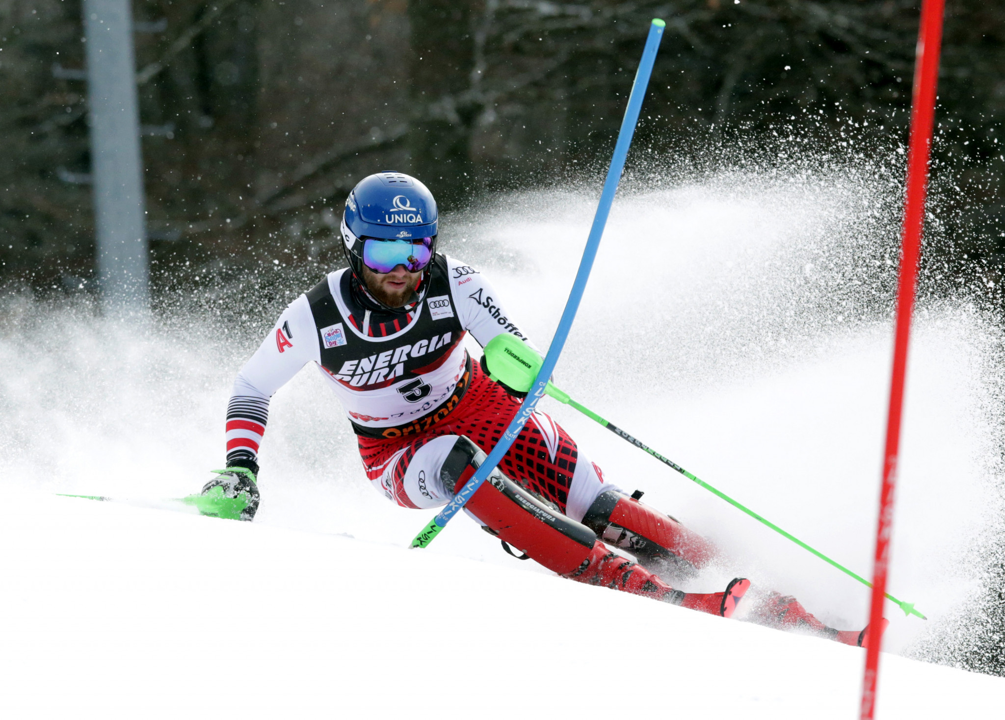 Marco Schwarz led after the first run but then failed to complete his second ©Getty Images