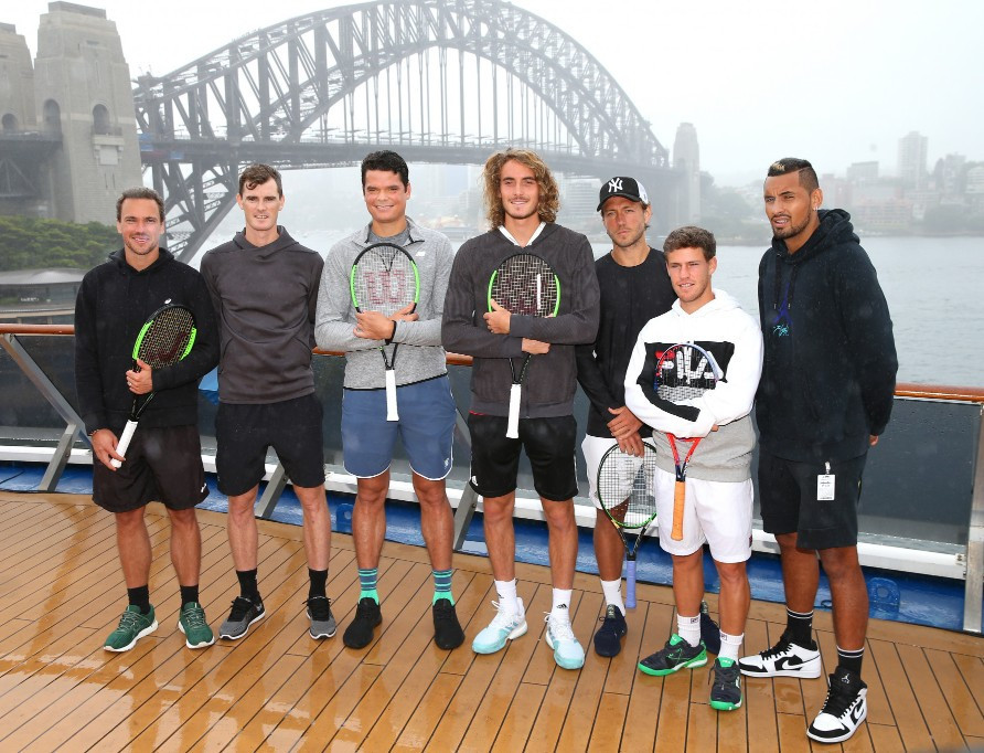 Bruno Soares, Jamie Murray, Milos Raonic, Stefanos Tsitsipas, Lucas Pouille, Diego Schwartzman and Nick Kyrgios attended the announcement that Sydney and Brisbane will host the 2020 ATP Cup ©Getty Images
