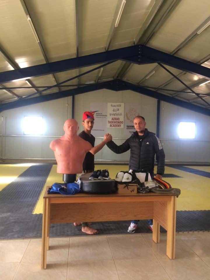 Yahya Basam Al-Ghoutani, a black belt at the Azraq Taekwondo Academy, has been given taekwondo equipment and clothing ©Taekwondo Humanitarian Foundation/Facebook