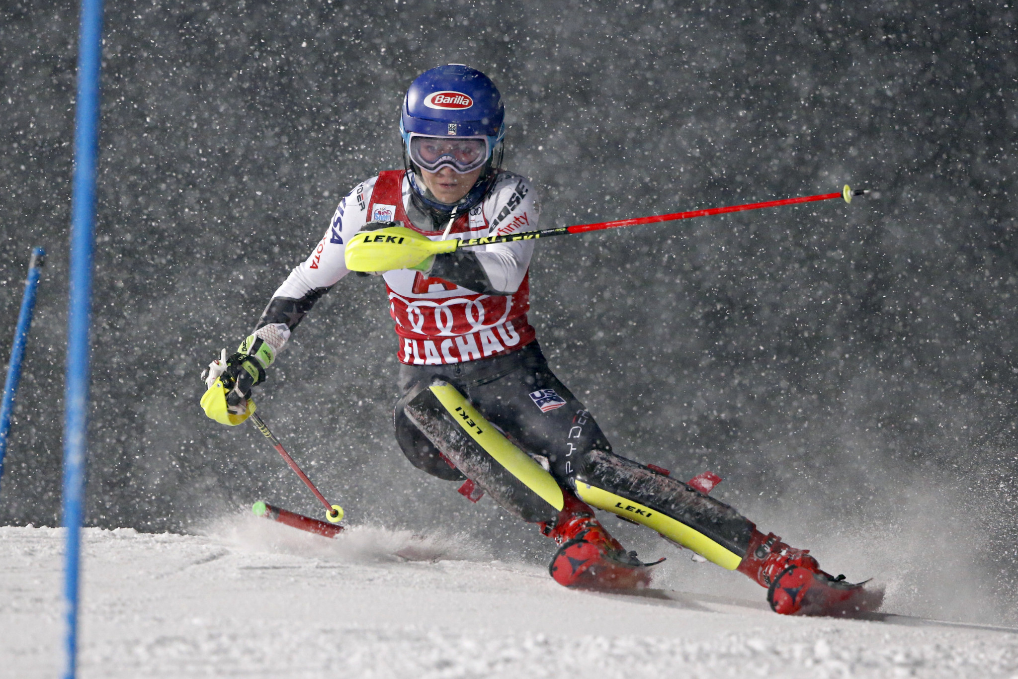 Mikaela Shiffrin initially led but could not match Petra Vlhova on the second run ©Getty Images