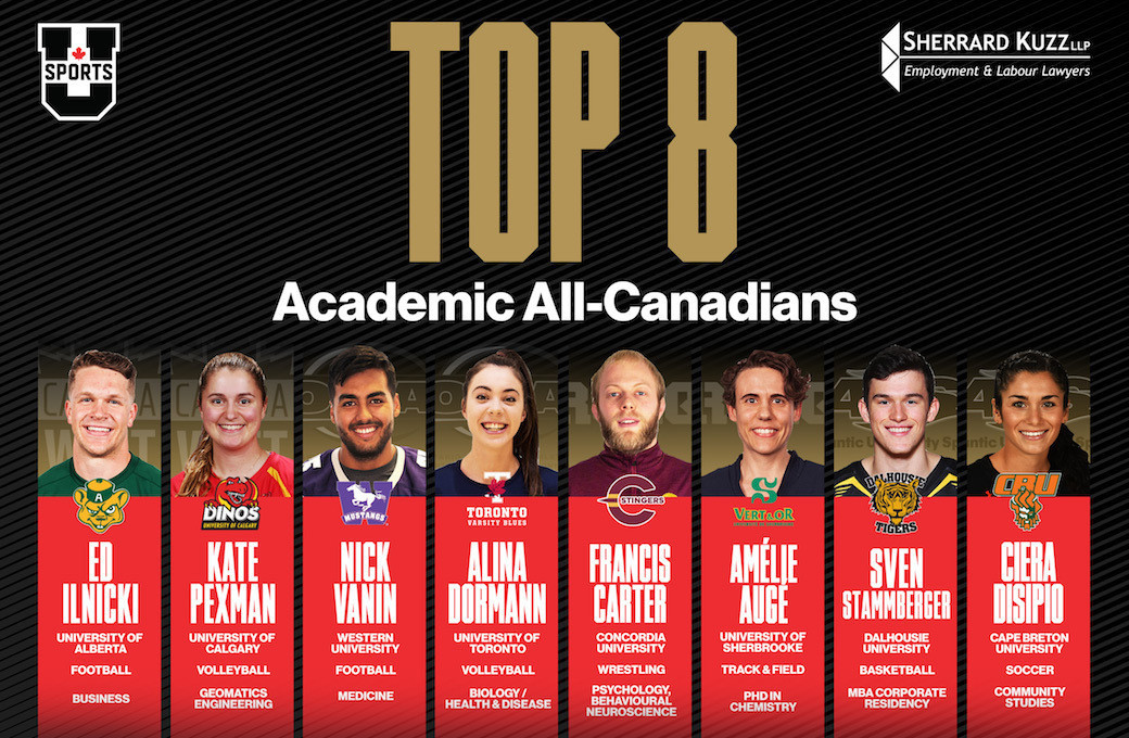 U SPORTS has announced the student-athletes selected as the top-eight Academic All-Canadians for the 2017-2018 season ©U SPORTS