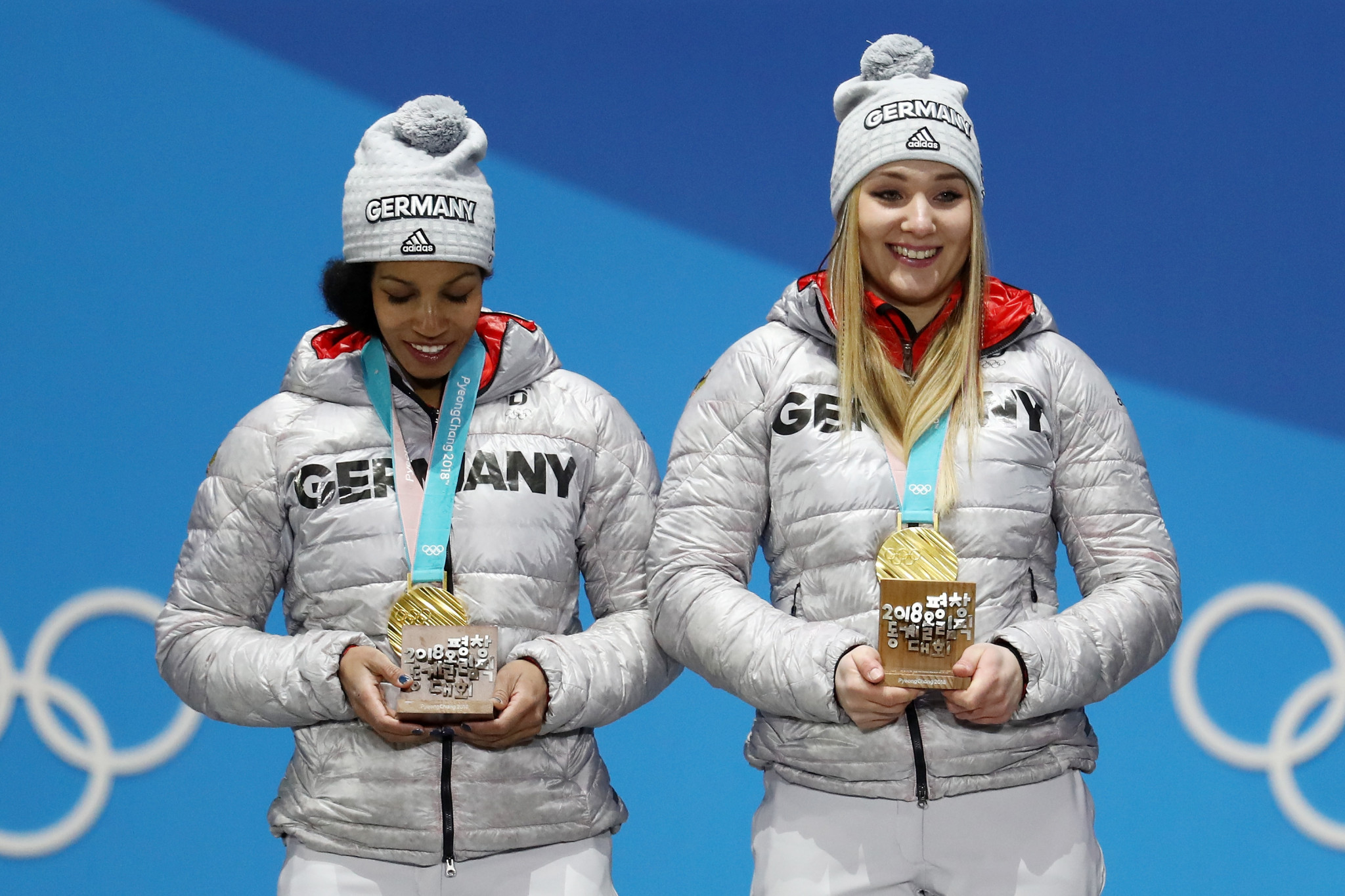 Olympic champion Mariama Jamanka of Germany, left, is currently leading the overall IBSF World Cup rankings in the two-woman bobsleigh ©Getty Images