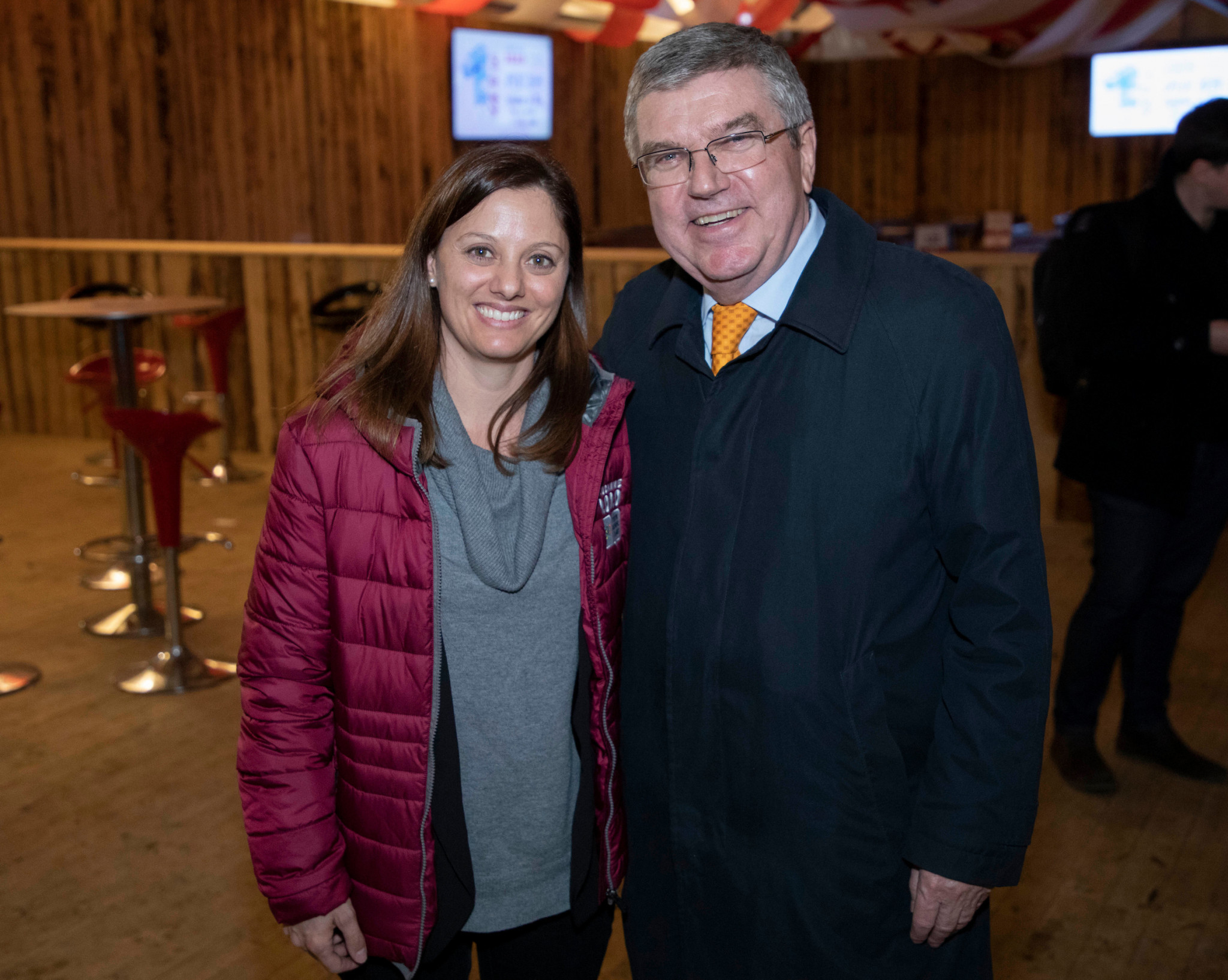 Lausanne 2020 President Virginie Faivre met IOC counterpart Thomas Bach during the one year to go celebrations ©IOC
