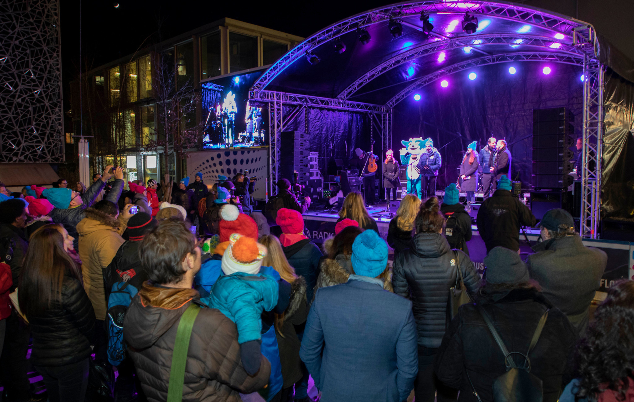 Lausanne 2020 held a celebratory concert to mark the one year to go milestone on the proposed Winter Youth Olympic medal plaza ©IOC