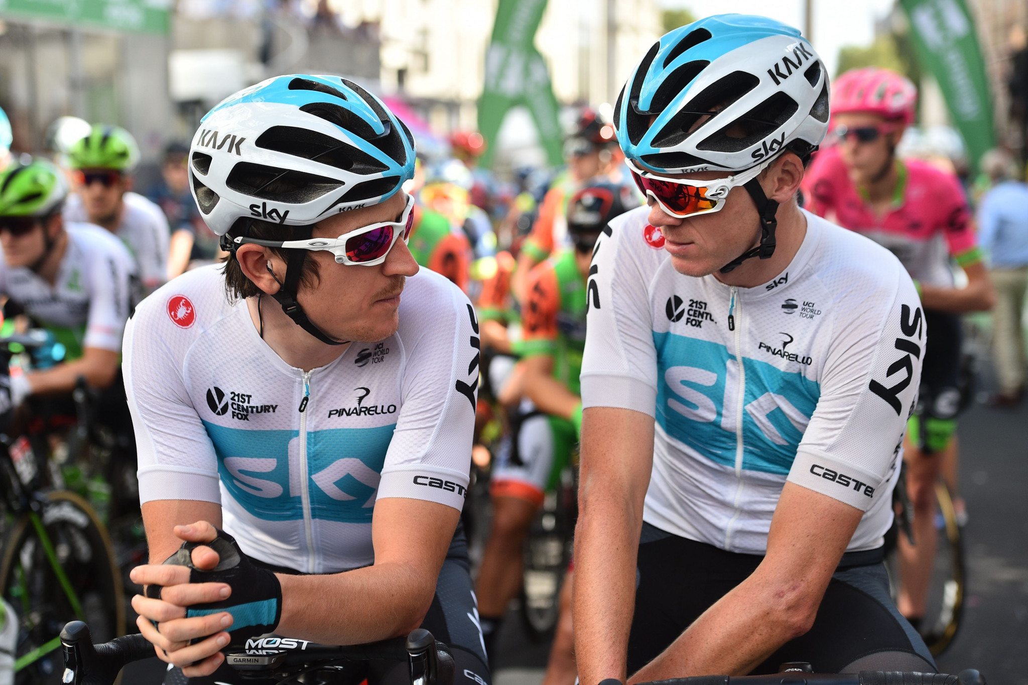 Britain's Geraint Thomas, left, and Chris Froome will miss the Giro d'Italia with the intention to compete at the Tour de France in what could be Team Sky's last appearance in the race ©Getty Images