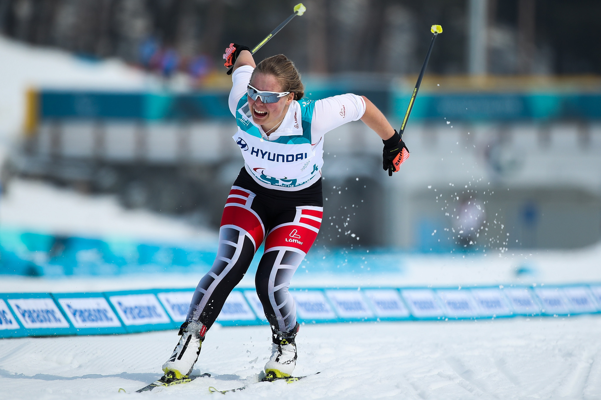 Austria's Carina Edlinger won the women's visually impaired middle distance cross-country event at the World Para Nordic Skiing World Cup event in Östersund ©Getty Images