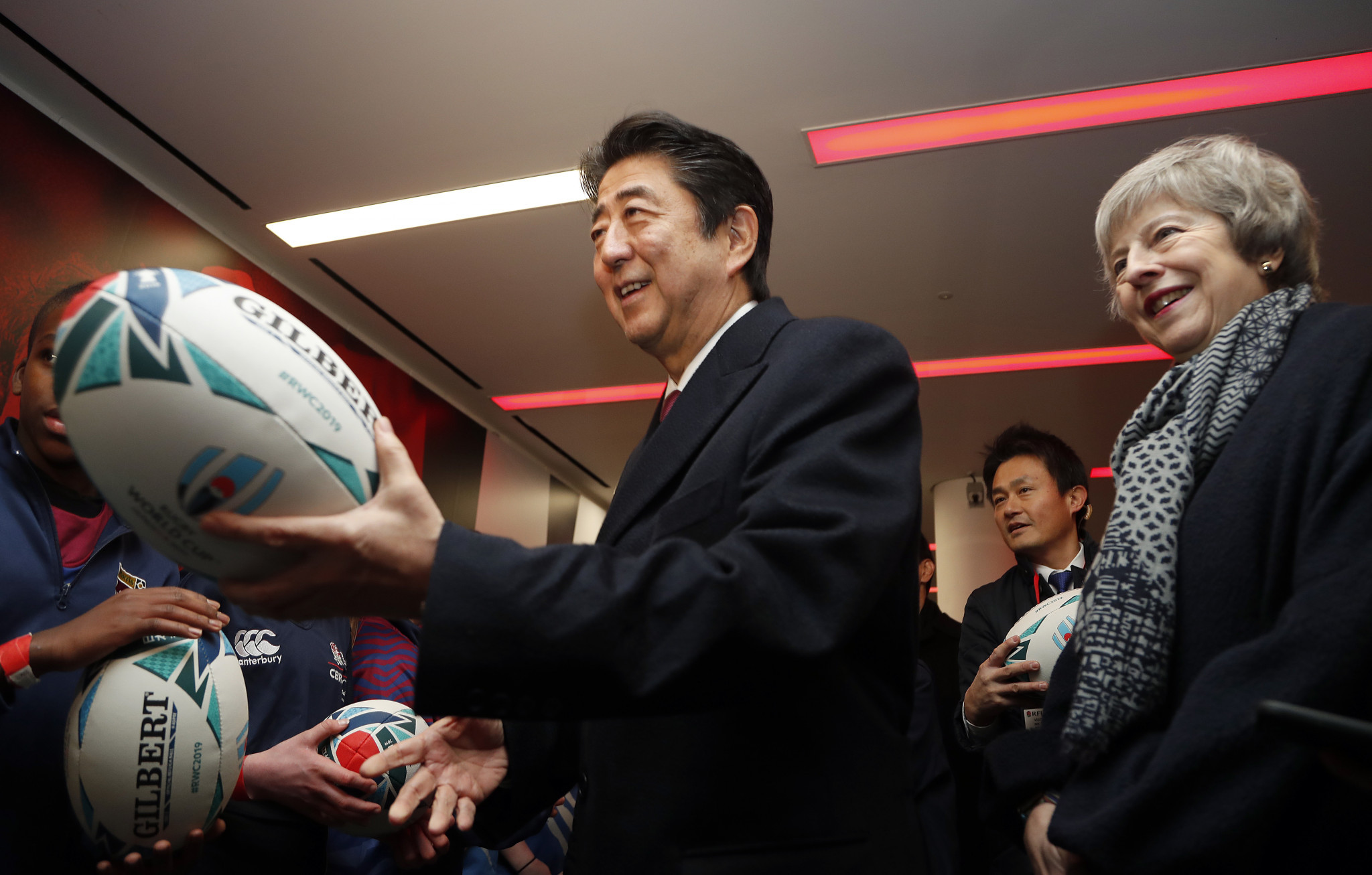 Japanese Prime Minister Shinzō Abe visited Twickenham Stadium with UK counterpart Theresa May during a visit to London this week as his country prepares to host the 2019 Rugby World Cup ©Getty Images
