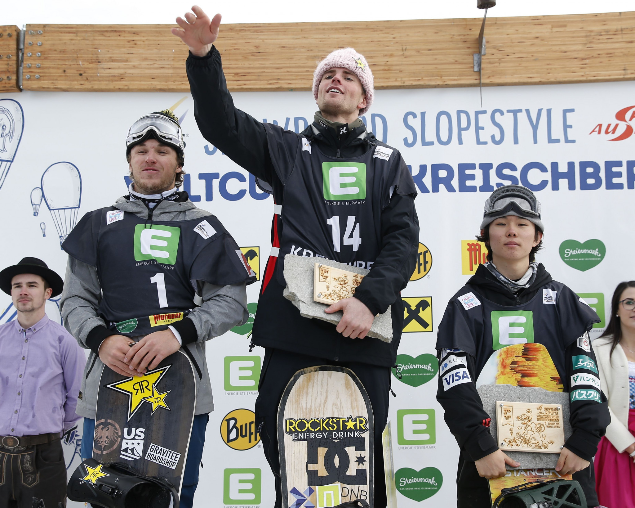 Norway's Mons Roisland won the men's slopestyle FIS Snowboard World Cup event in Kreishberg, with Chris Corning of the US coming second and Japan's Hiroaki Kunitake finishing third ©Getty Images