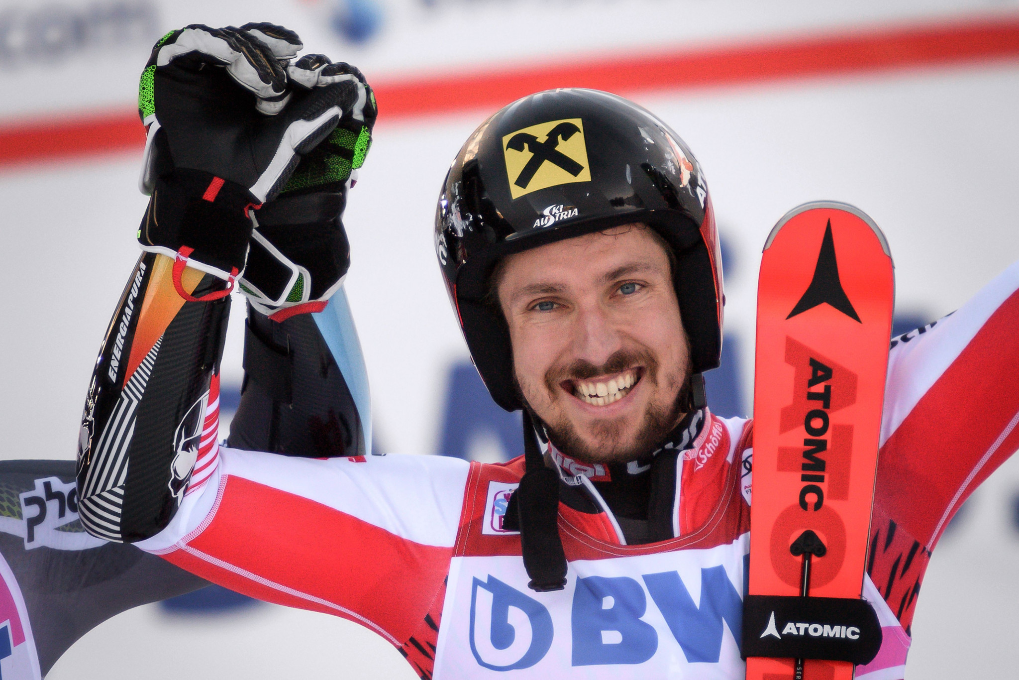 Austria's Marcel Hirscher won the men's giant slalom at the FIS Alpine Skiing World Cup in Adelboden ©Getty Images