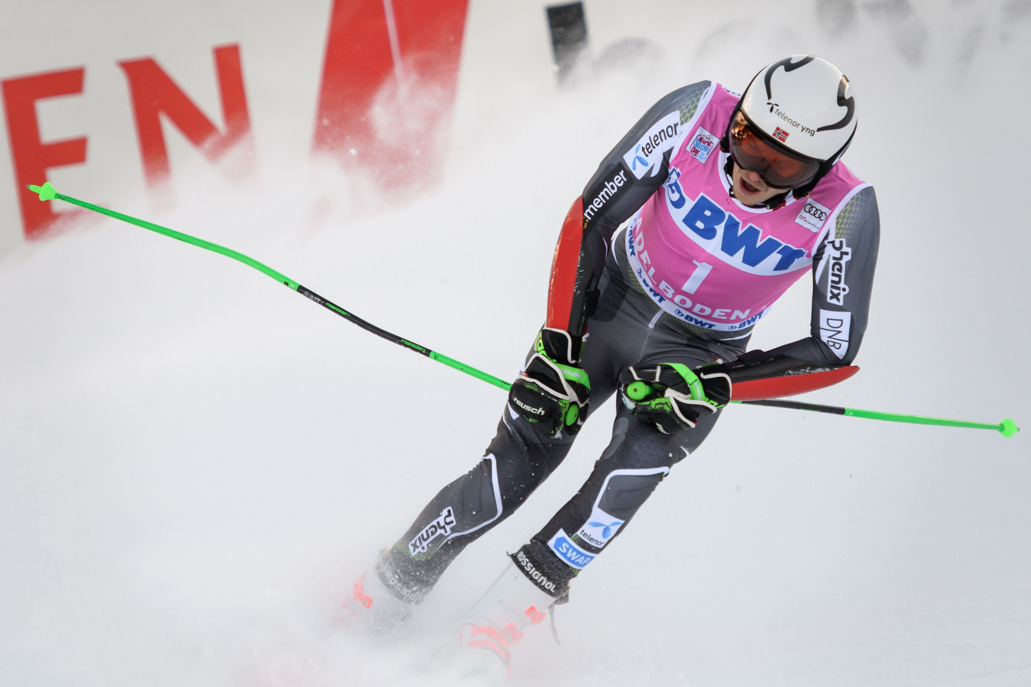 Norway's Henrik Kristoffersen led after the first run but ended second overall ©Getty Images