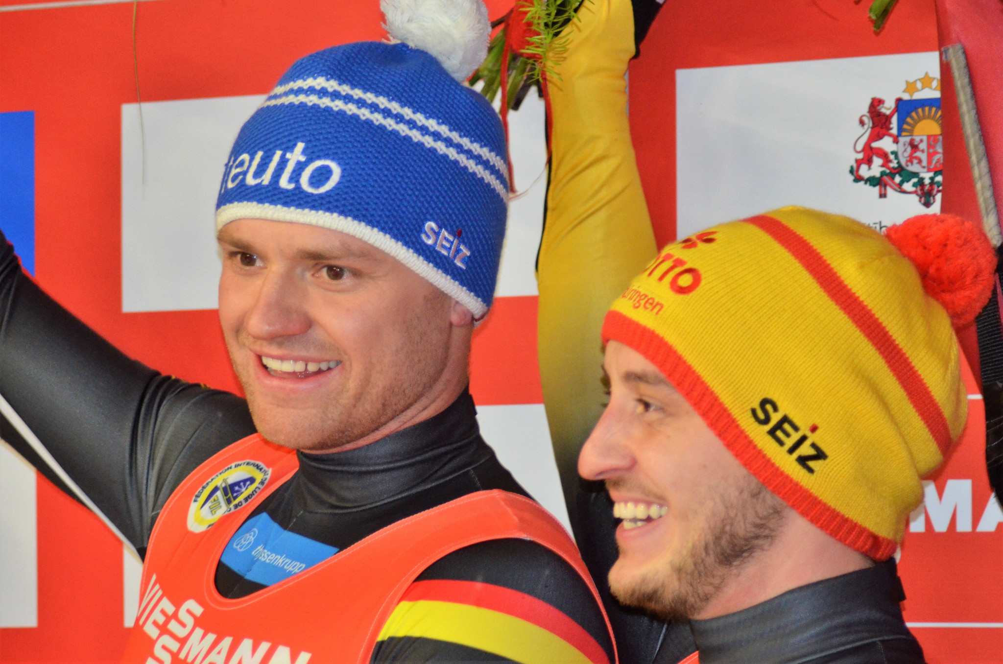 Germany's Toni Eggert and Sascha Benecken continued their dominance in the doubles competition at the FIL World Cup in Sigulda with their fourth consecutive victory this season ©FIL