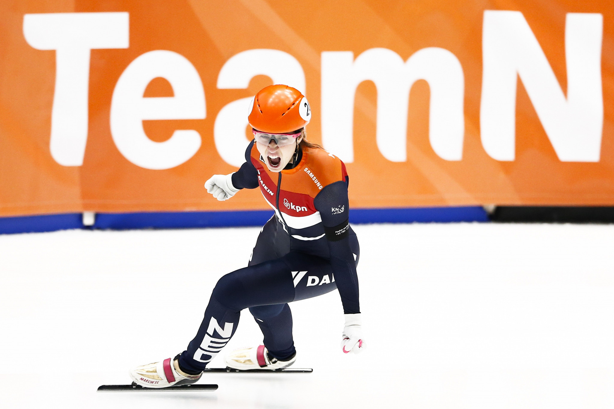 Suzanne Schulting of The Netherlands celebrates winning the women's 1,500m final at the ISU Short Track Speed Skating European Championships in front of her home crowd in Dordrecht ©ISU