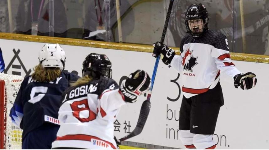 Canada beat the United States in overtime to win the Women's Under-18 Ice Hockey World Championship ©IIHF