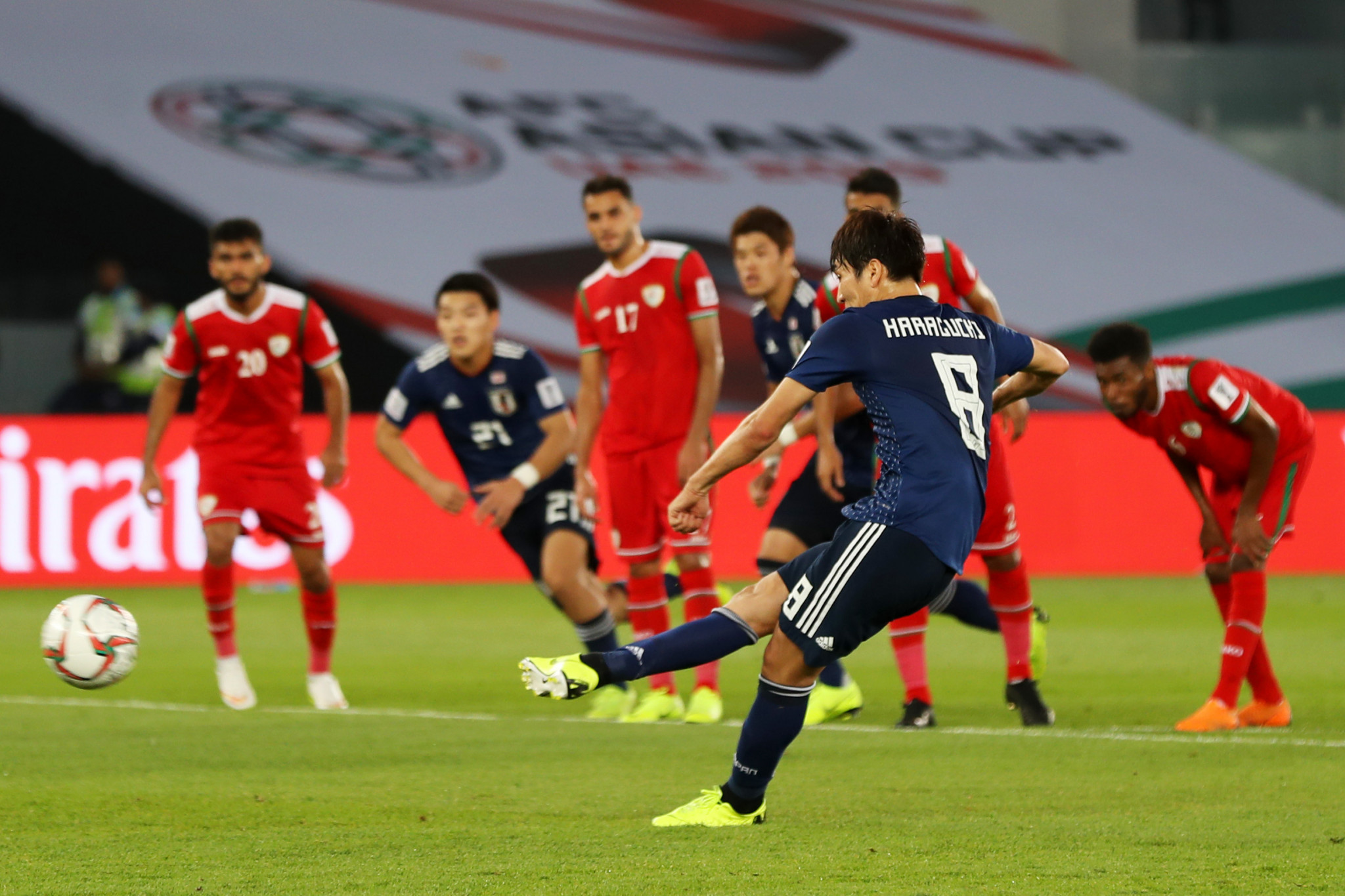 Genki Haraguchi scored a penalty for Japan in their 1-0 victory over Oman, although replays suggest the referee's decision to give the spot kick may have been wrong ©Getty Images