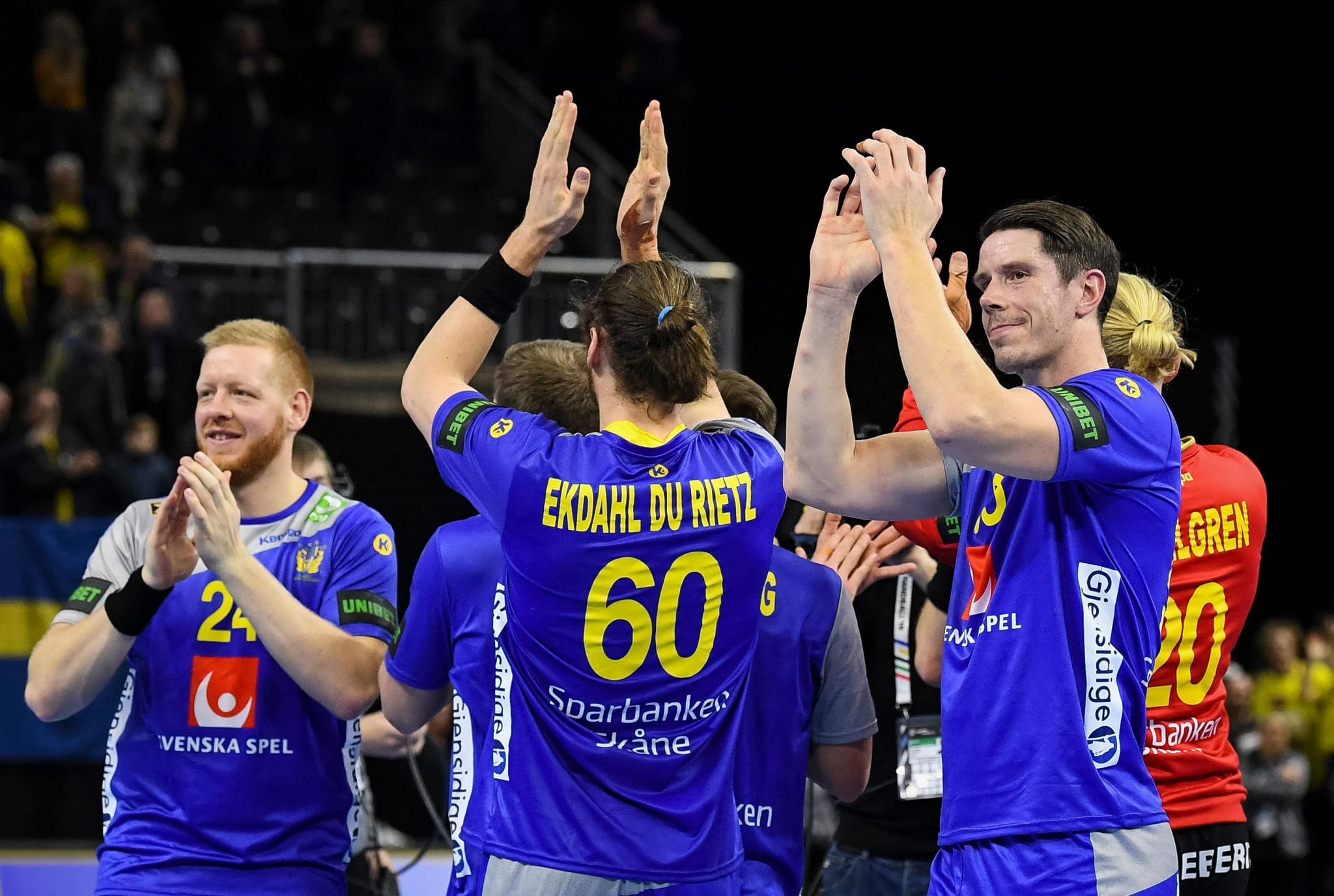 Sweden celebrate getting two wins in two at the IHF Men's Handball World Championships ©Getty Images