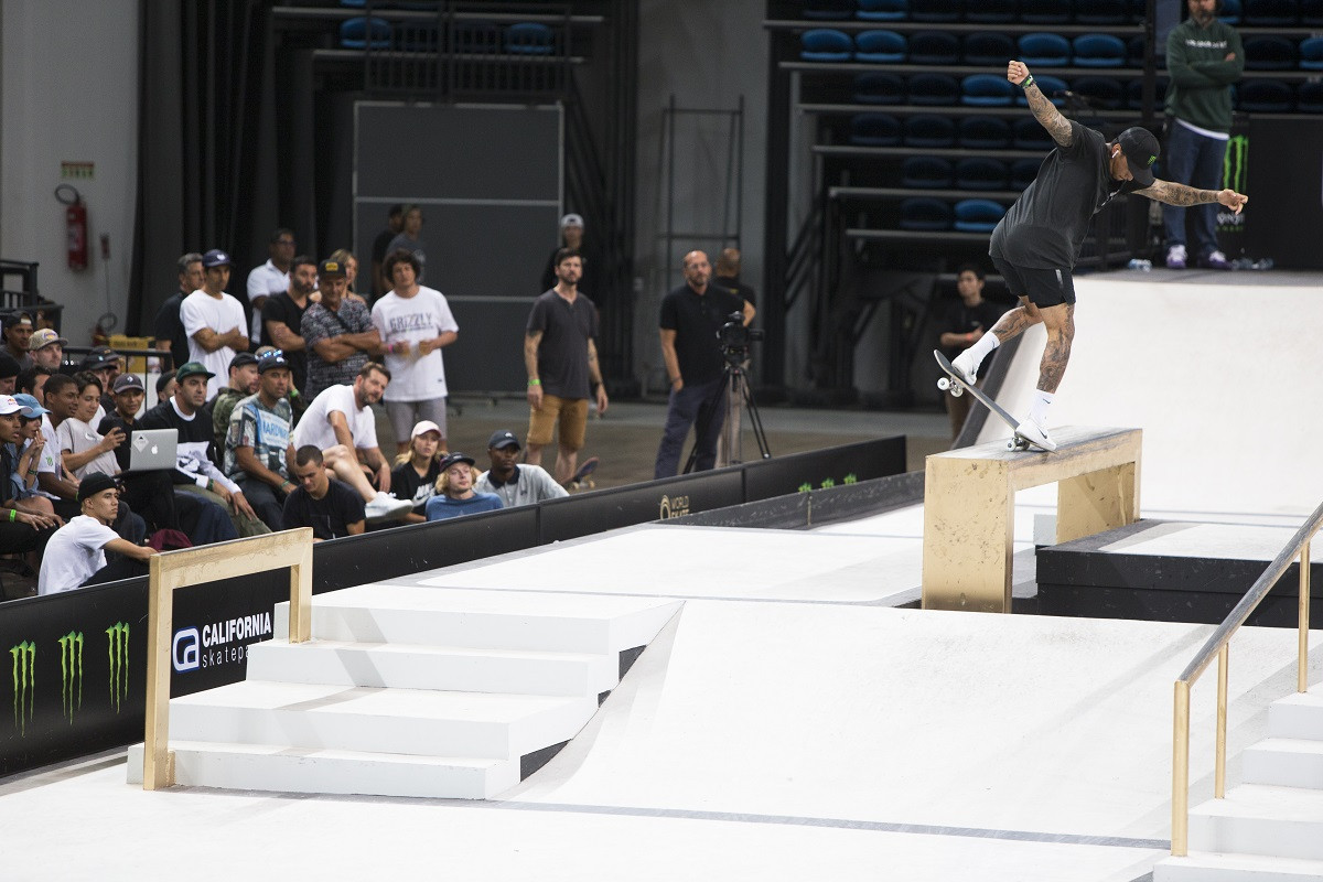 The United States' Nyjah Huston claimed the men's title as action concluded today at the Street League Skateboarding World Championships in Rio de Janeiro ©Paulo Macedo/World Skate