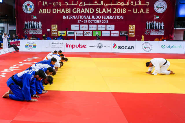 In 2018, three-time world champion and Athens 2004 Olympic gold medallist Ilias Iliadis of Greece led a special World Judo Day masterclass during the break on day two of the Abu Dhabi Grand Slam. ©IJF