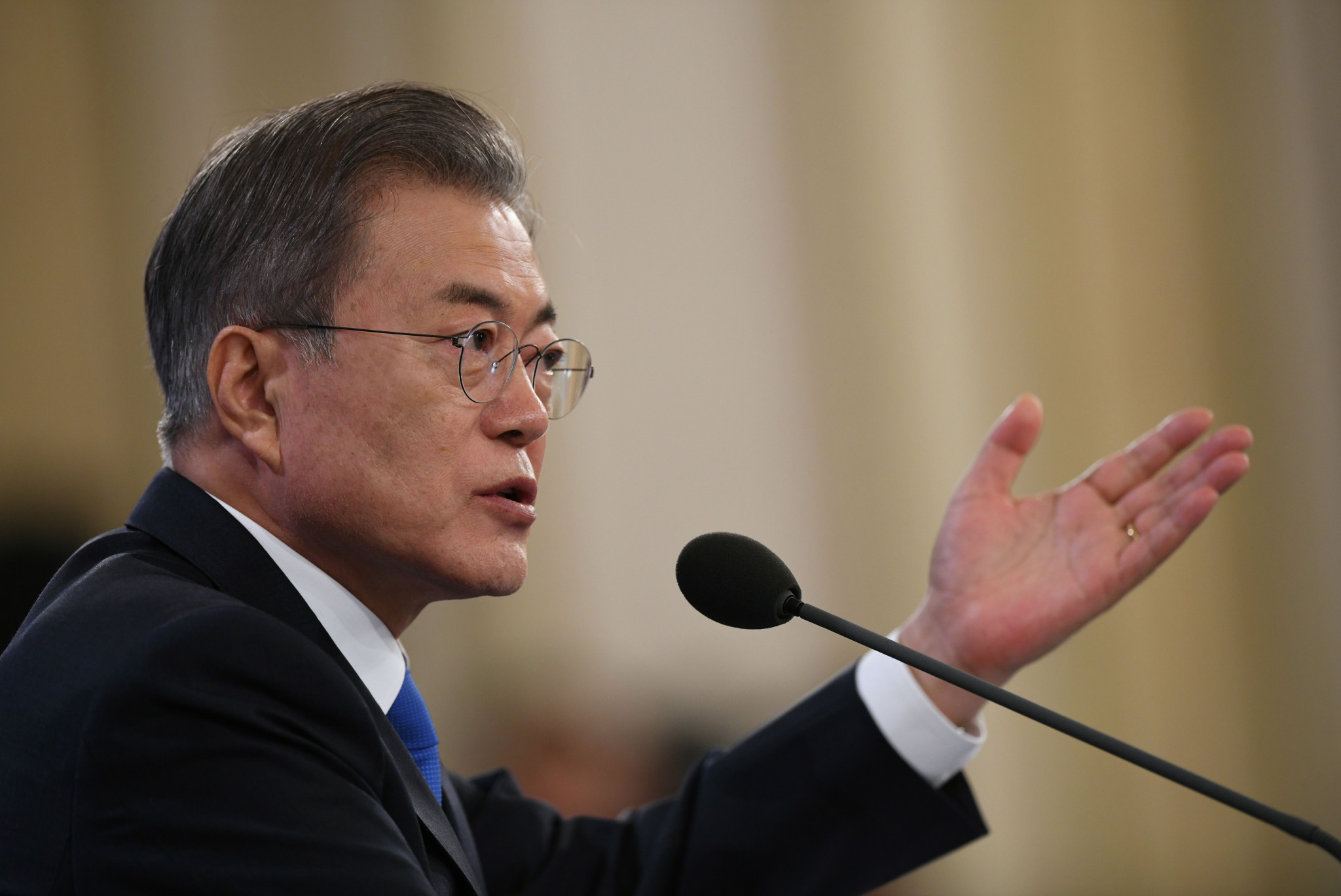 South Korean President Moon Jae-in has claimed violence and pressuring athletes cannot be justified ©Getty Images