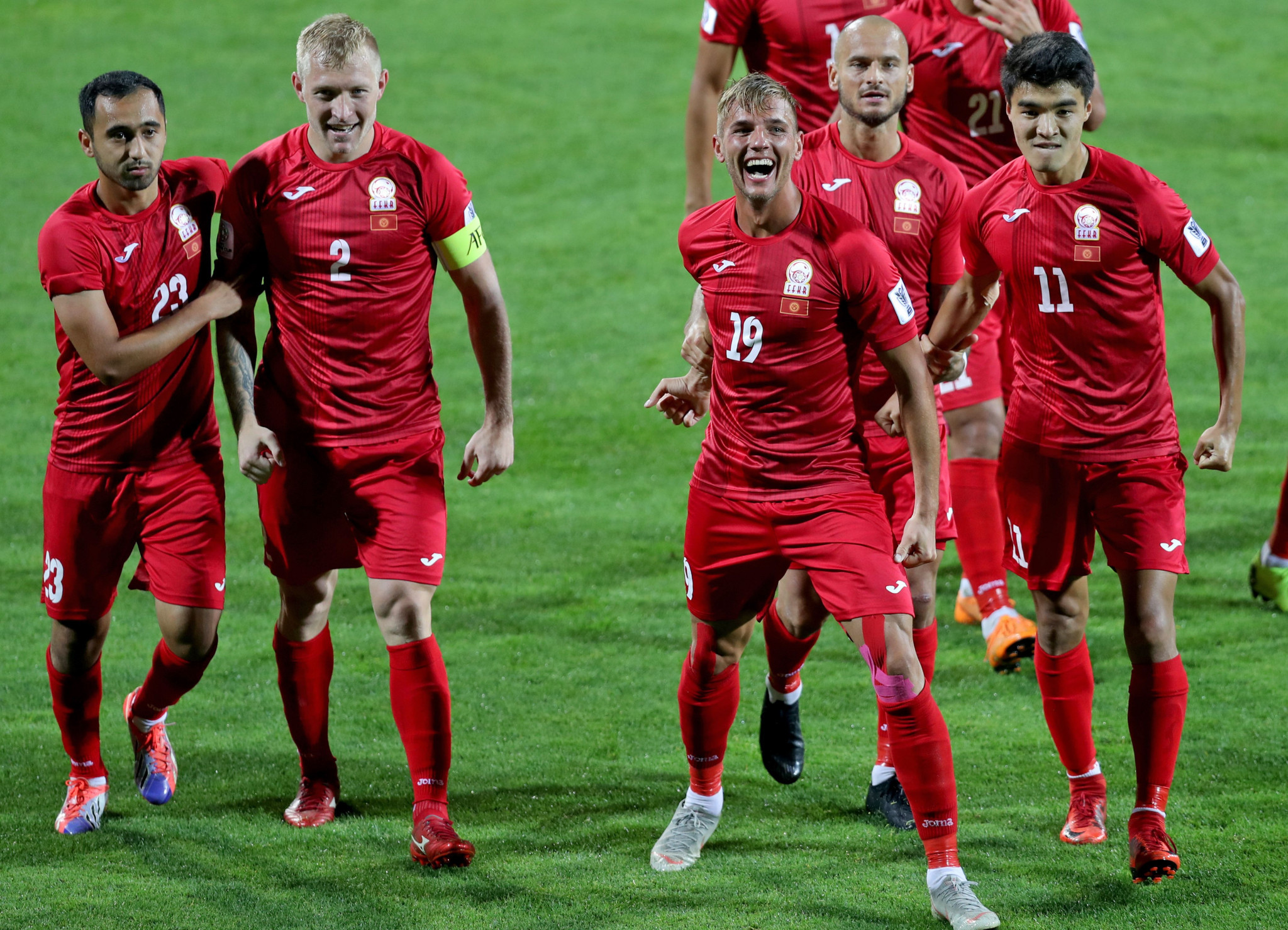 Kyrgyzstan celebrate getting their first AFC Asian Cup victory, with the team beating The Philippines 3-1 ©Getty Images