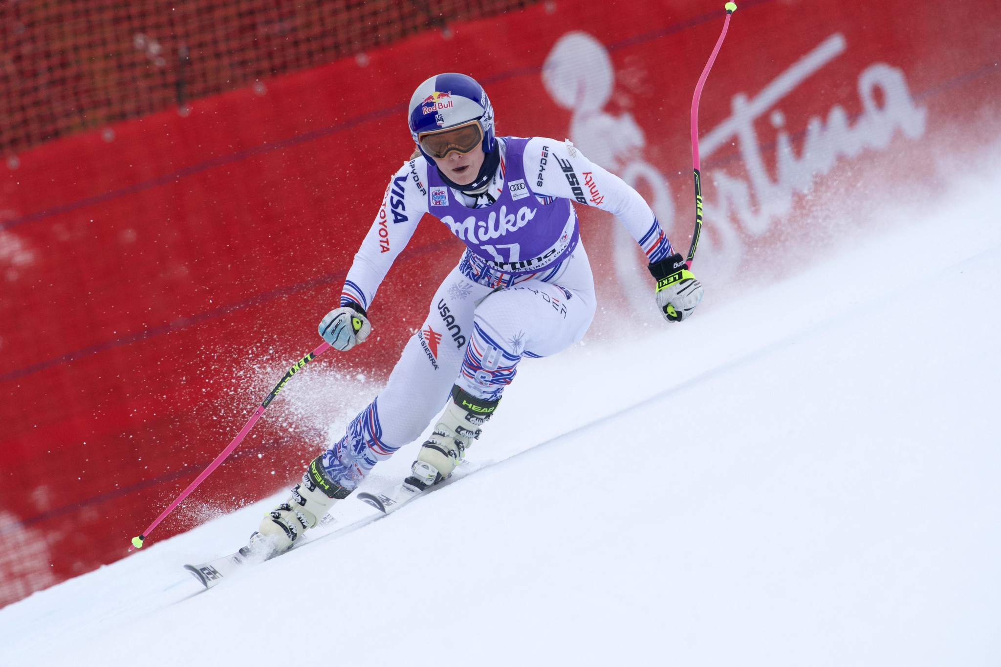 The United States' Lindsey Vonn took part in training today in Cortina d'Ampezzo ©Getty Images