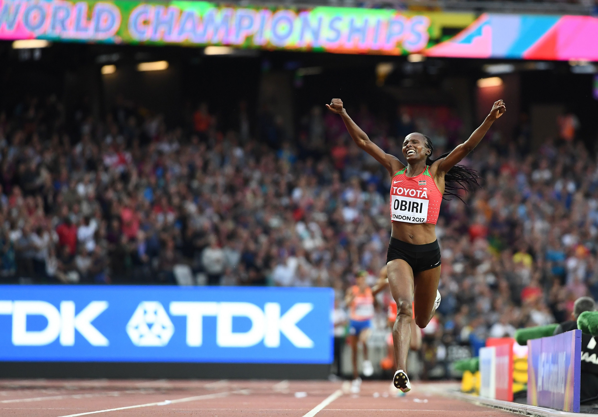 Hellen Obiri won her first outdoor global crown in 2017 by securing victory in the 5,000 metres final at the IAAF World Championships in London ©Getty Images