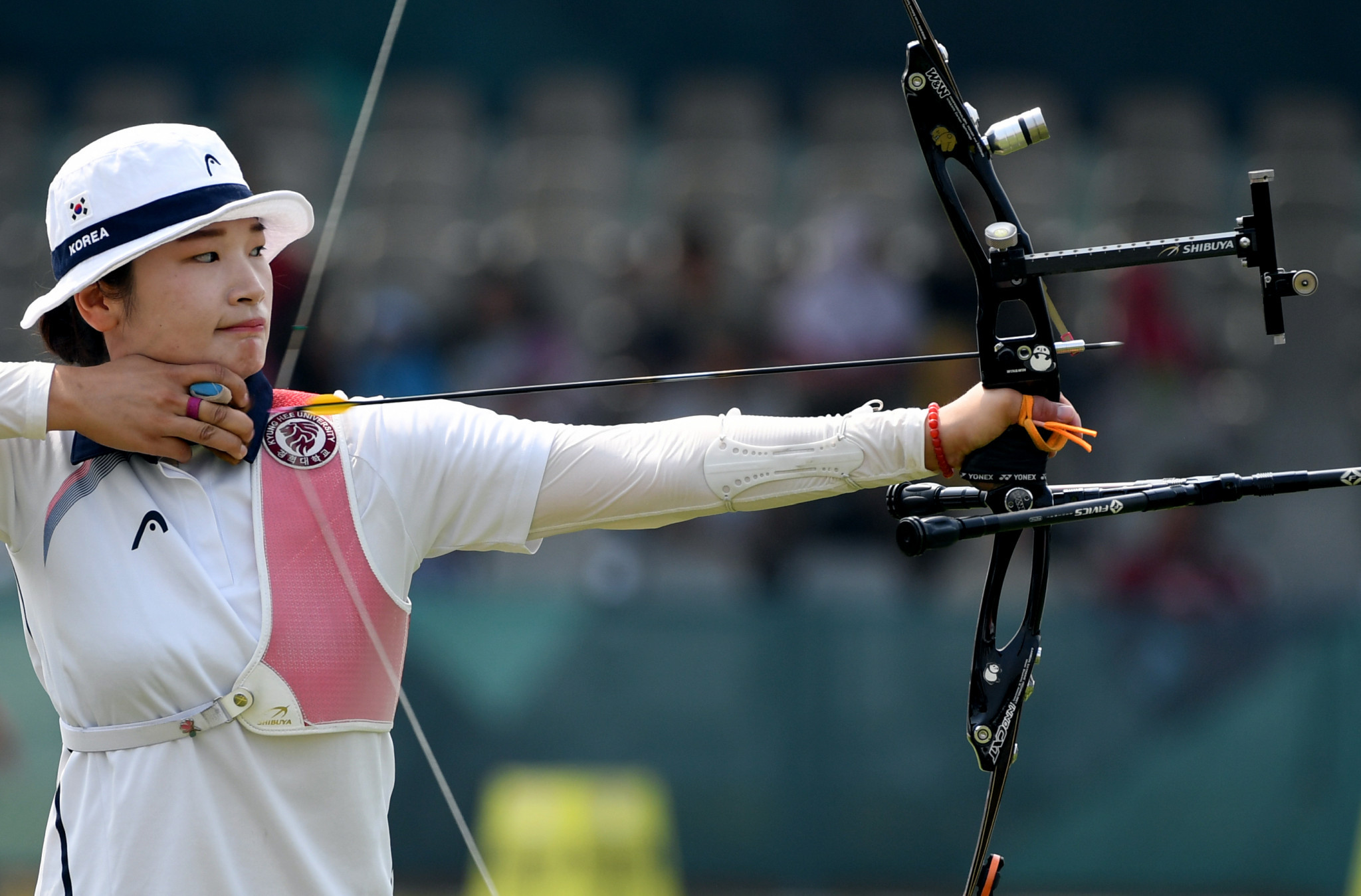 World record holder Kang Chae Young held off a strong challenge from three fellow South Koreans to take first place in the women's recurve qualification standings at the Indoor Archery World Series event in Nîmes in France ©Getty Images