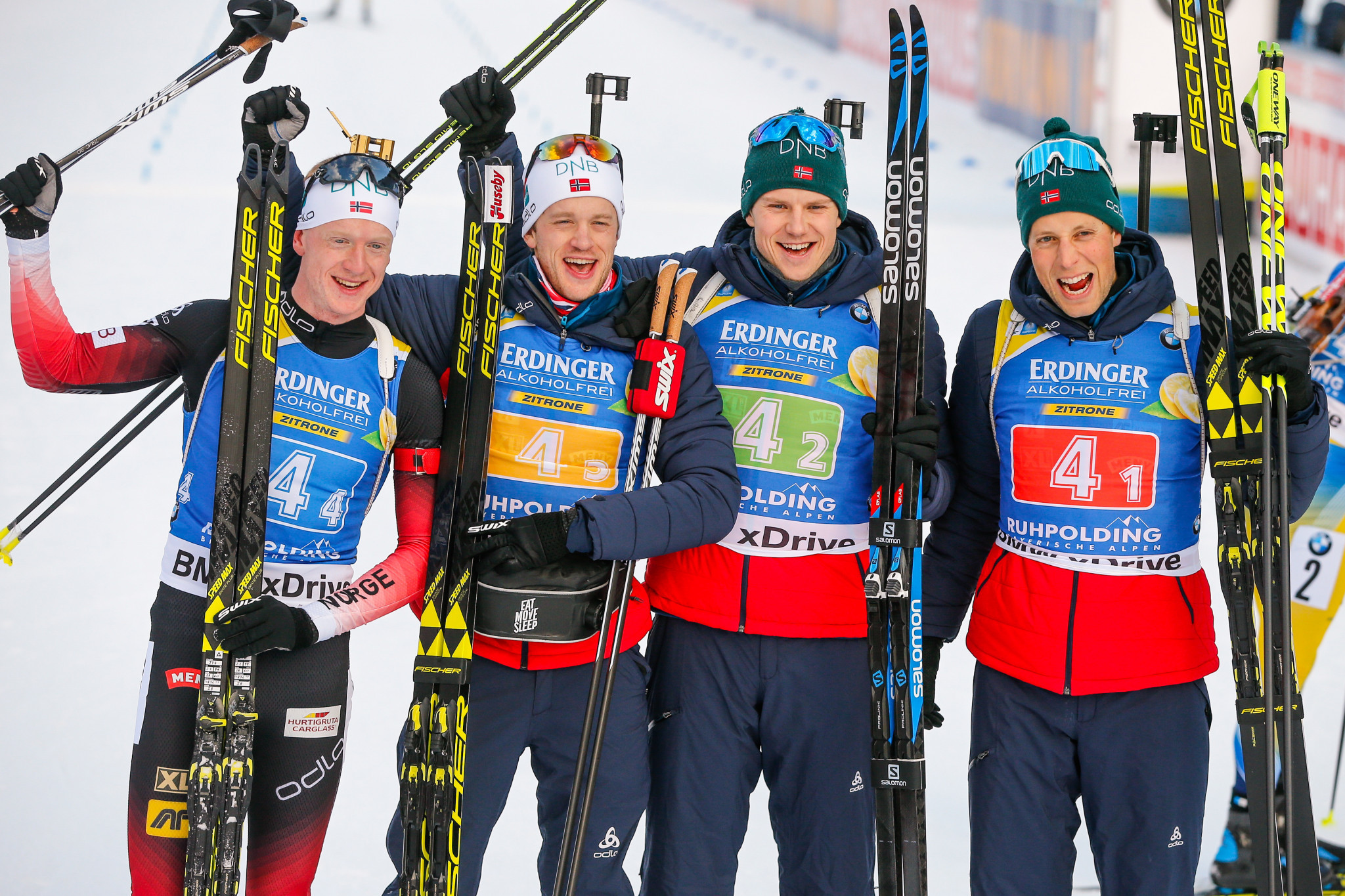 The Bø brothers Johannes and Tarjei alongside Lars Helge Birkeland and Vetle Sjaastad Christiansen won the men's relay today in Ruhpolding ©Getty Images