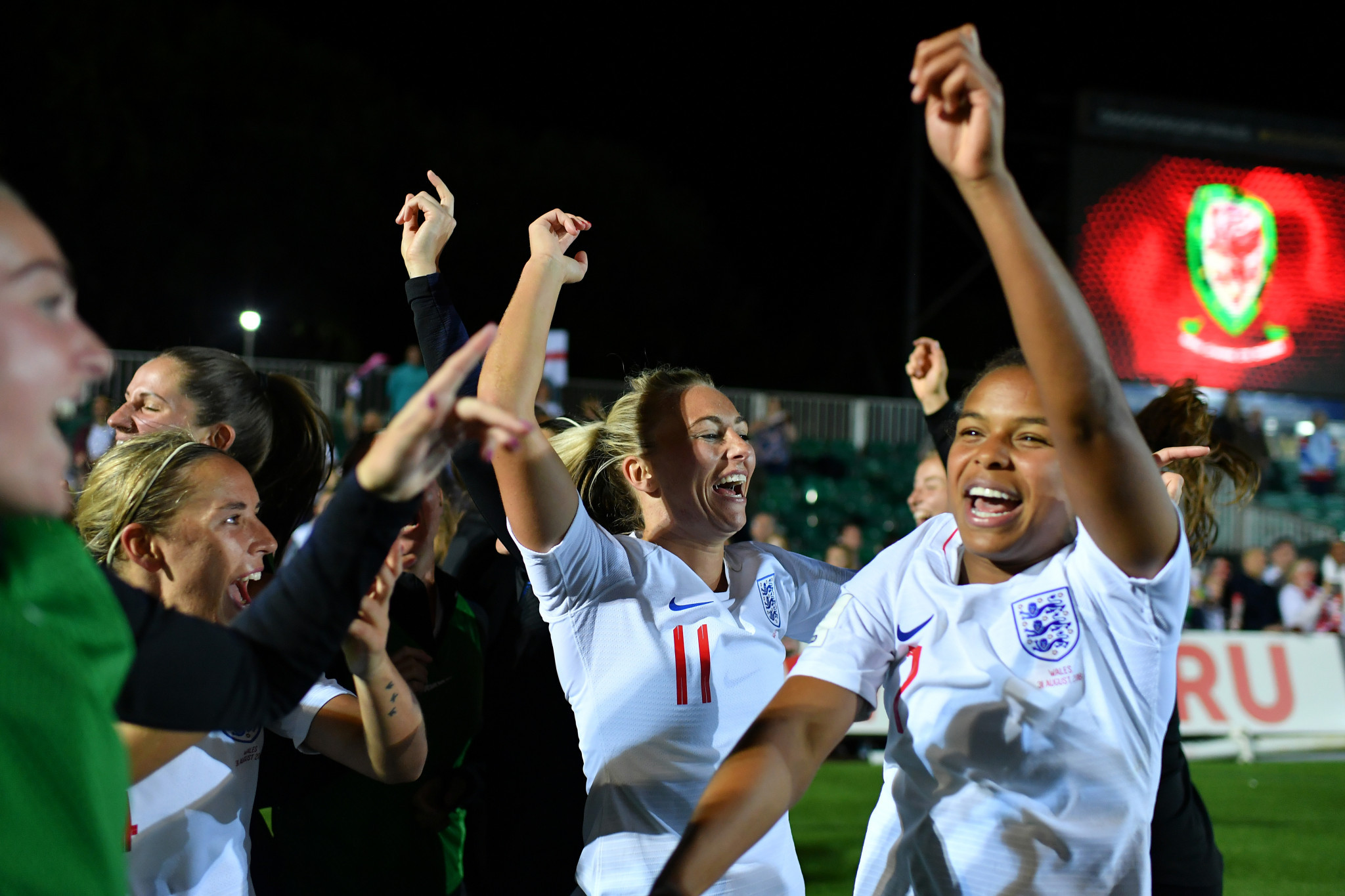 England's women's football team celebrate qualifying for the 2019 FIFA World Cup in France ©Getty Images