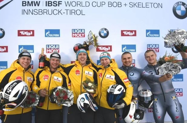 Francesco Friedrich topped yet another podium after the two-man bobsleigh race at the IBSF World Cup in Innsbruck today ©IBSF