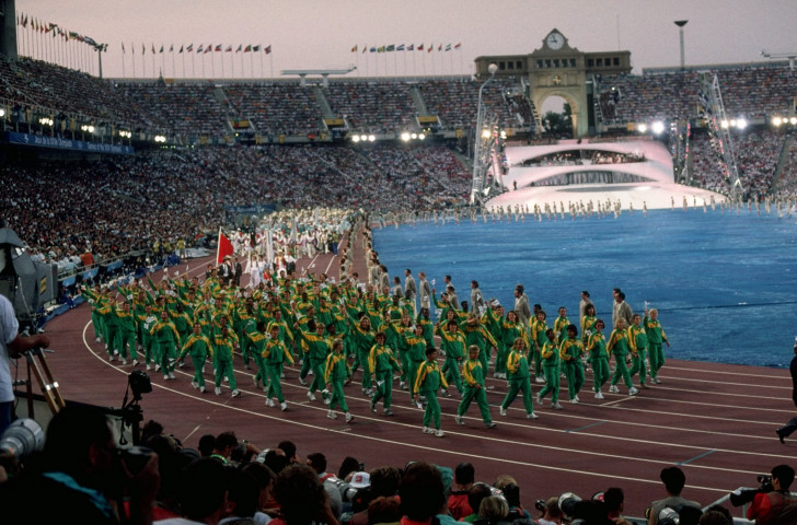 South Africa, with Sam Ramsamy present,  march into the Opening Ceremony at the 1992 Barcelona Games, their first since 1960 - with Nelson Mandela watching, it was Ramsamy's finest moment ©Getty Images