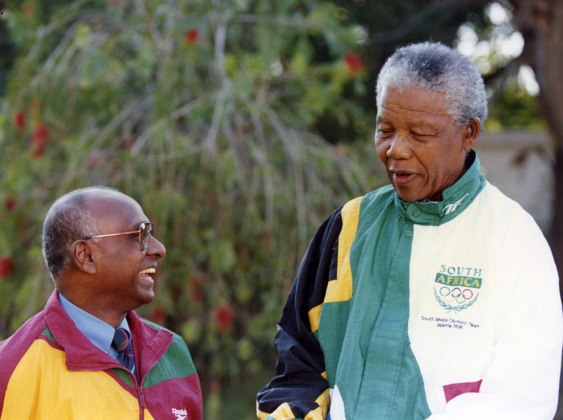 Sam Ramsamy pictured with South Africa's President Nelson Mandela, who referred to Ramsamy as his