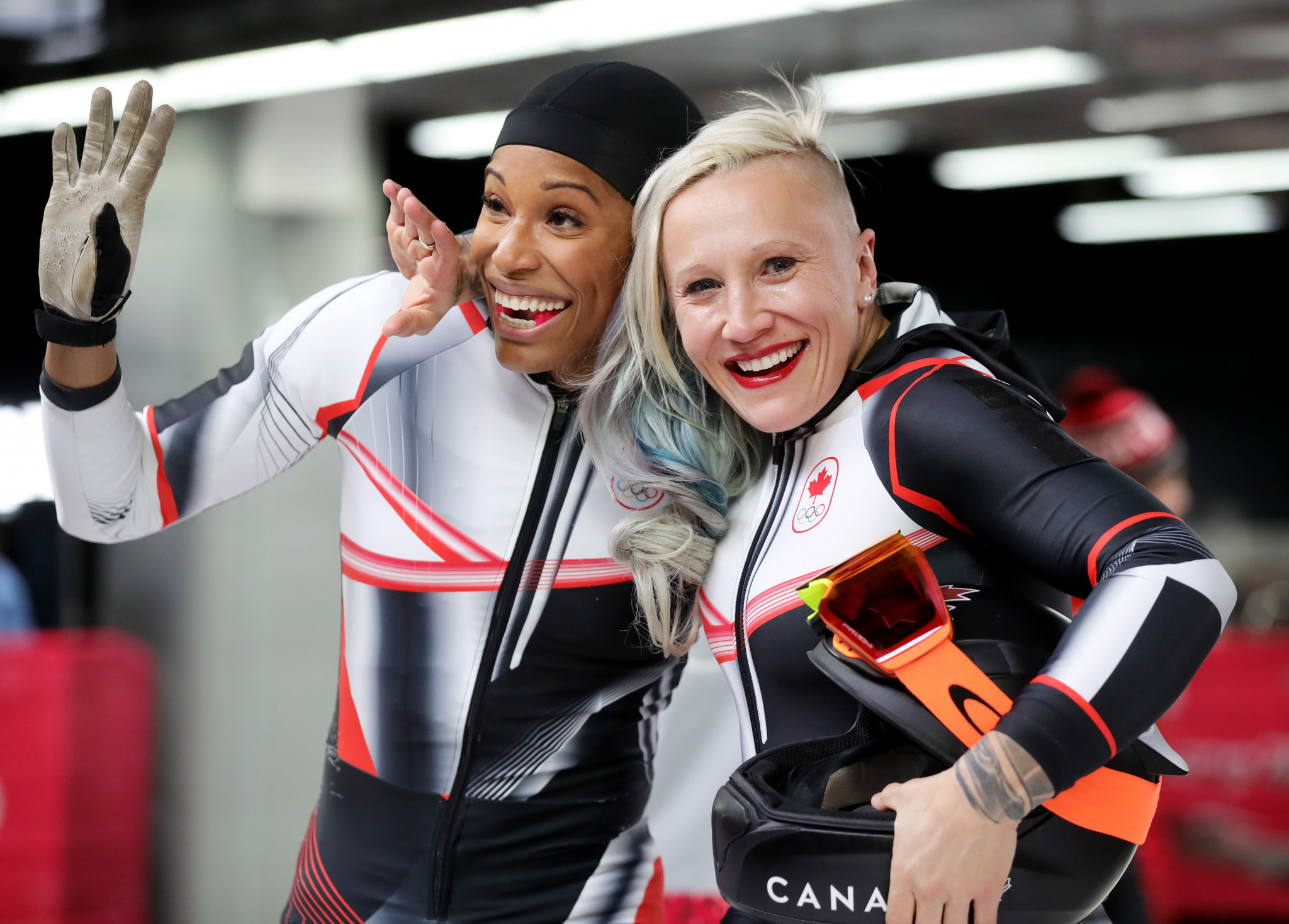 Kaillie Humphries, right, has filed a harassment complaint with Bobsleigh Canada ©Getty Images