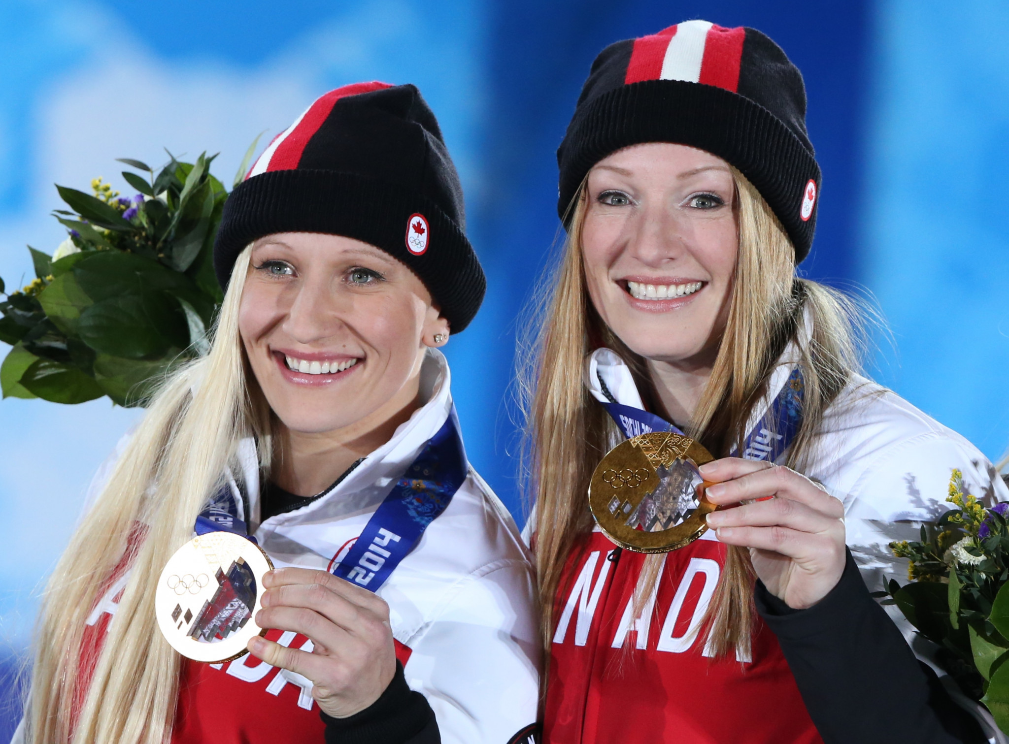 Kaillie Humphries, left, won two-person bobsleigh gold at the sochi 2014 Winter Olympics ©Getty Images
