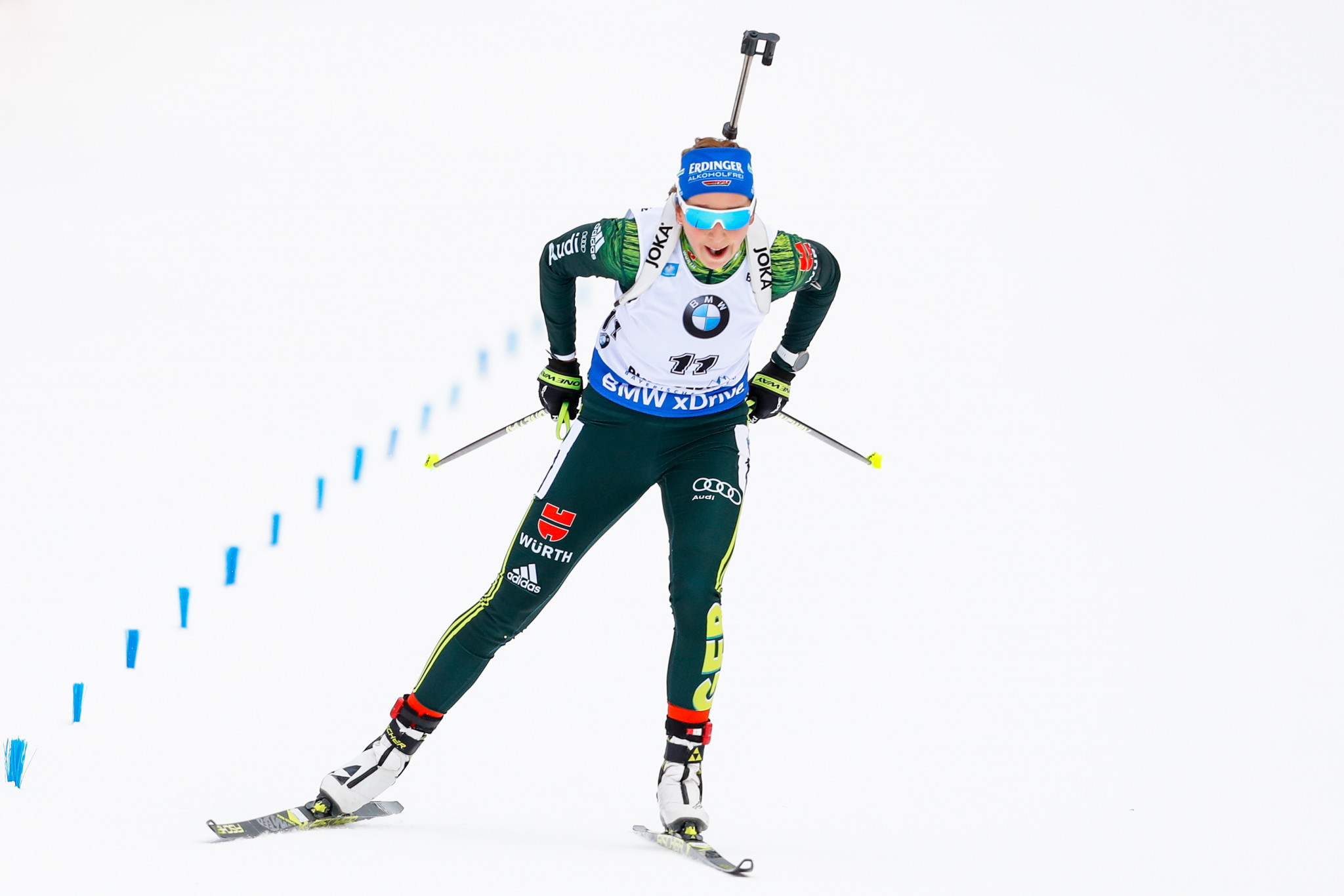 Germany's Franziska Preuß sealed the first World Cup victory of her career as she won the women's 12.5km mass start race ©Getty Images