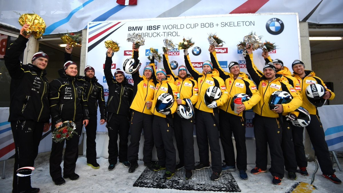 Francesco Friedrich's team finished first, with Oskars Kibermanis's team in second and Johannes Lochner's team in third ©IBSF