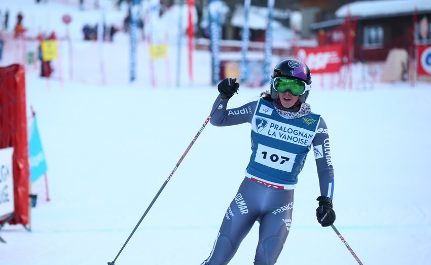France's Argeline Tan-Bouquet won the women's event at the FIS Telemark World Cup season opener in La Thuile ©Twitter