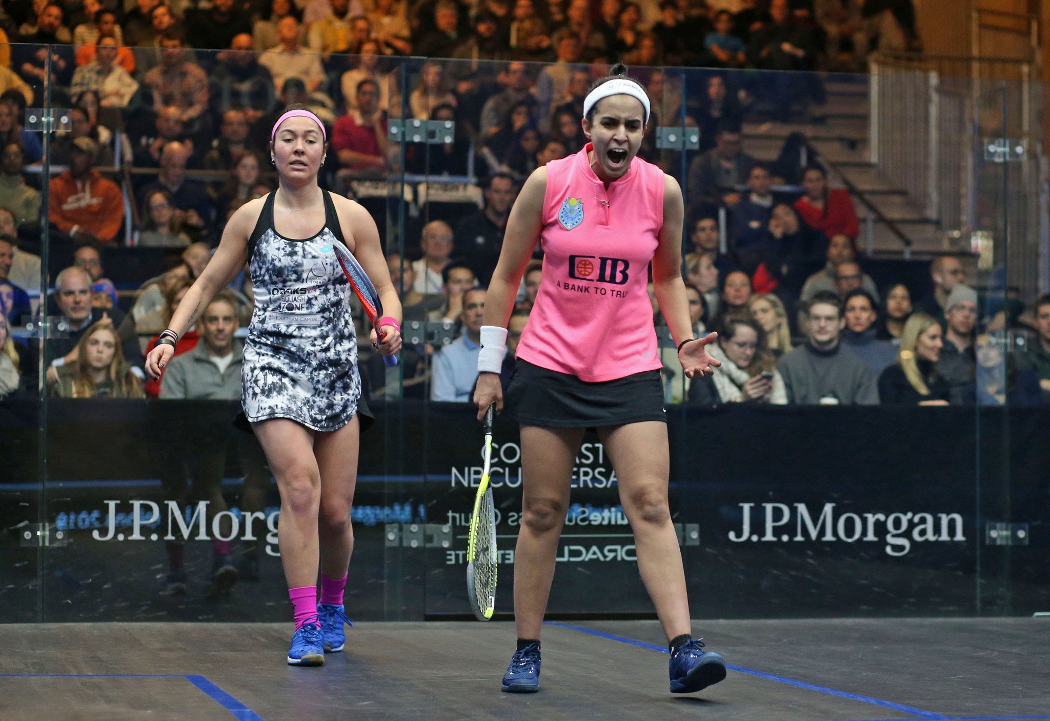 Nour El Tayeb, right, was among the winners in the women's third round ©PSA