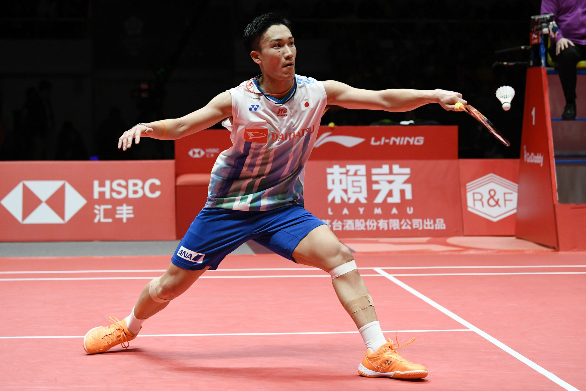 Reigning world champion Kento Momota was among the players to progress to the second round of the men's singles event ©Getty Images
