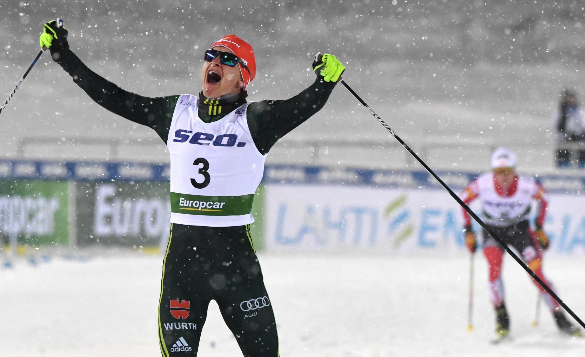 Julian Schmid of Germany celebrates winning gold in Lahti ©Getty Images
