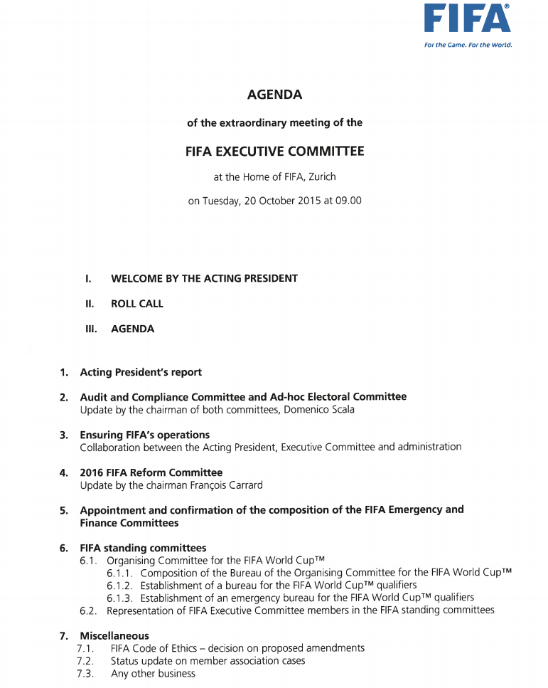 The agenda for the Emergency FIFA Executive Committee meeting has been revealed