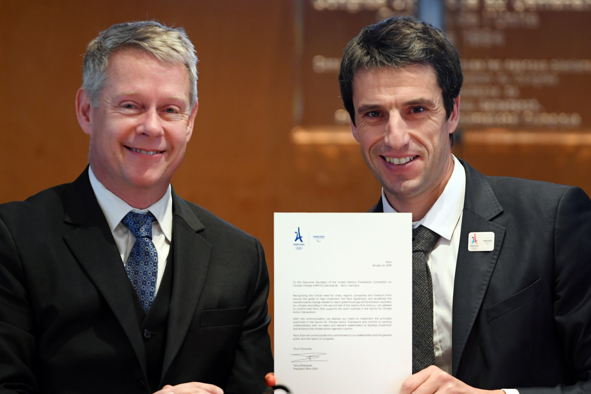 Paris 2024 President Tony Estanguet signed confirmed they would participate in a Sport for Climate Action initiative after meeting Niclas Svenningsen, manager of Global Climate Action ©Paris 2024