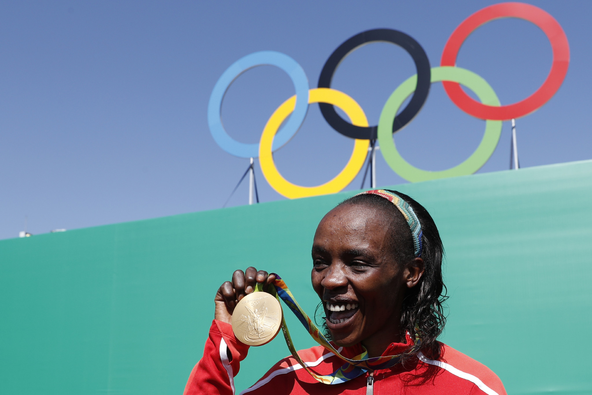 Olympic marathon champion Jemima Sumgong has seen her doping ban doubled to eight-years ©Getty Images