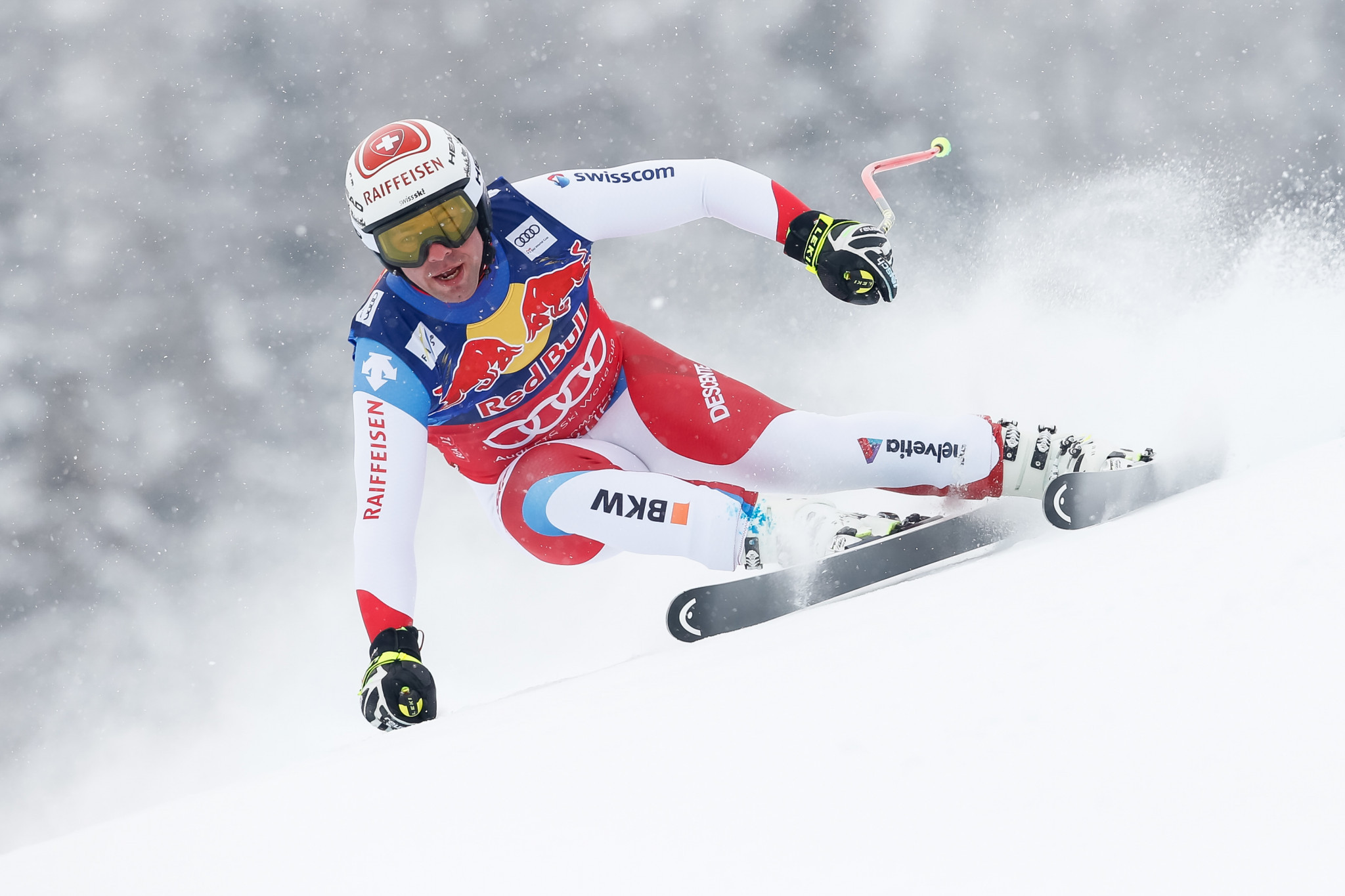 Switzerland's Beat Feuz, leader of the FIS Alpine Skiing World Cup standings in downhill, finished second today ©Getty Images