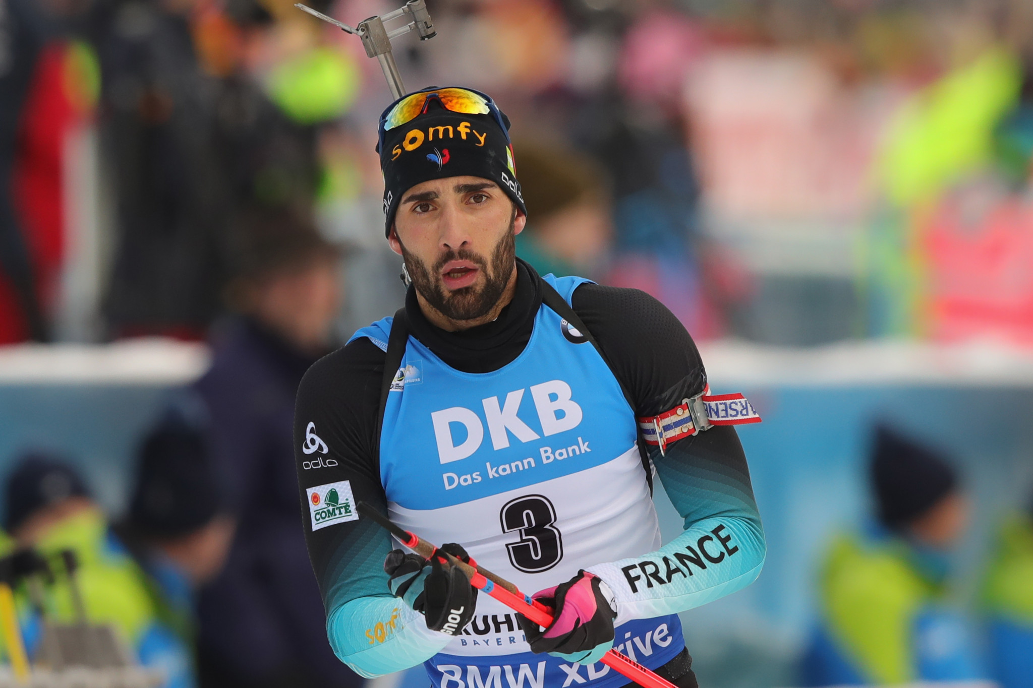 Martin Fourcade missed out on the podium but remains third in the overall World Cup standings ©Getty Images