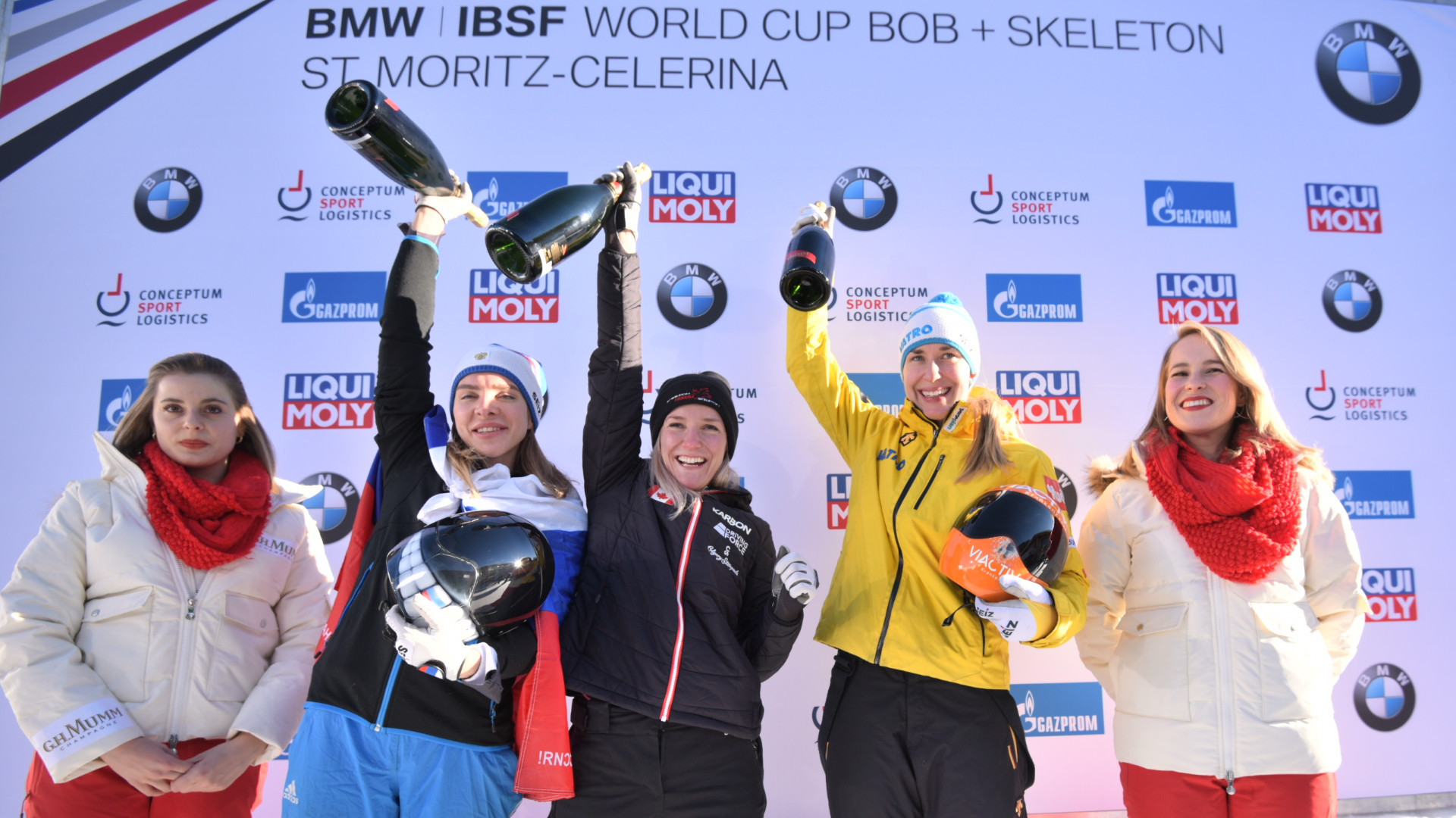 Canada's Mirela Rahneva, centre, won the IBSF World Cup women's skeleton race in St Moritz, with Russia's Elena Nikitina, left, in second and Germany's Jacqueline Loelling, right, in third ©IBSF