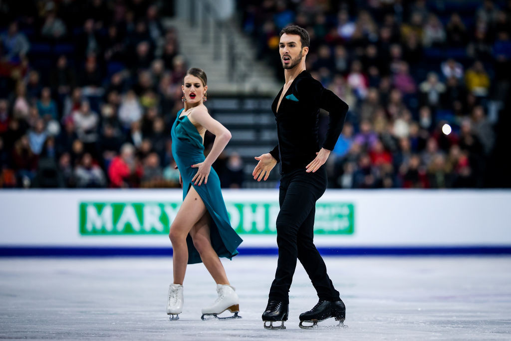 French pair Gabriella Papadakis and Guillaume Cizeron, the Olympic silver medallists, lead the ice dance event at the ISU European Figure Skating Championships in Minsk ©ISU