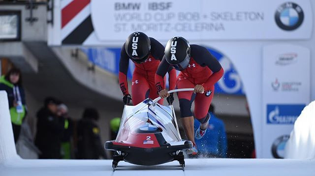 Elana Taylor Meyers of the United States won her first two-woman bobsleigh event of the season in St Moritz ©IBSF